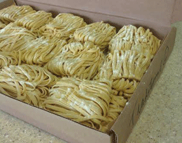 Light green noodles in bundles
